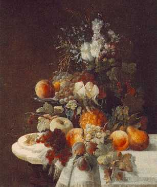 CARL OTTO(Footnote 1) (GERMAN, 1830-1902) Still Life with Assorted Flowers and Fruits on a Draped Marble Ledge