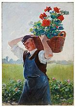 Lothar von Seebach (German, 1853-1930) The Gardener oil on canvas 53 x 37 ¼ in. (134.6 x 94.6 cm.)