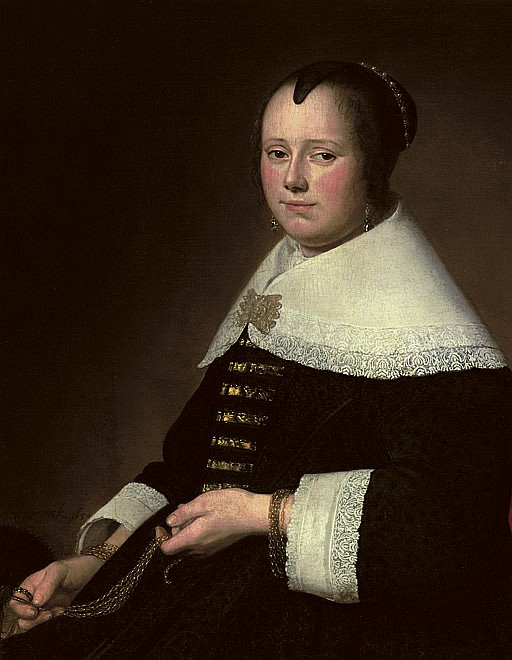 Portrait of a lady, three-quarter-length, in a black dress with gold brocade and a white collar, holding a gold chatelaine