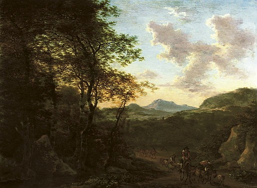 An Italianate wooded landscape with a peasant on his mule driving sheep on a track, a river and mountains beyond