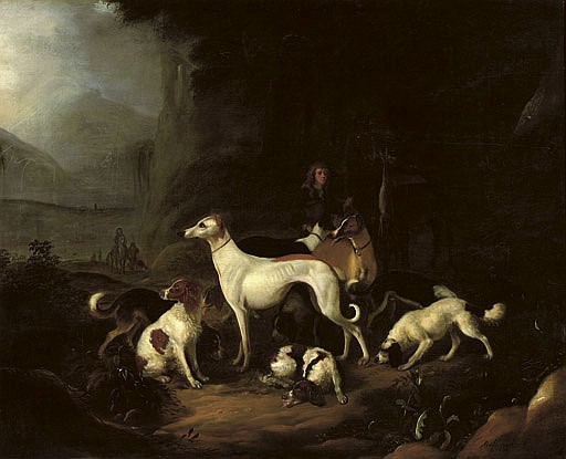 A hunter and his dogs resting at the entrance of a cave