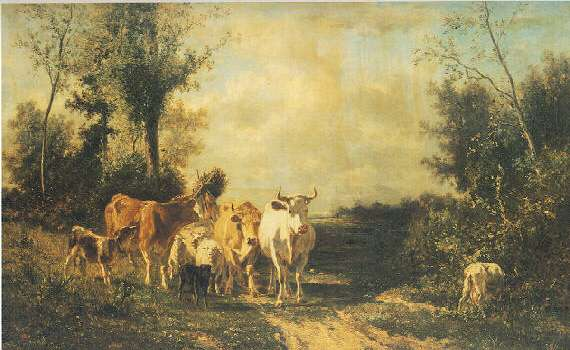 CONSTANT TROYON* (FRENCH, 1810-1865) RETURNING FROM PASTURE