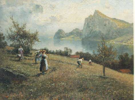 JOSEF WOPFNER (AUSTRIAN, 1843-1927) HARVESTERS BY THE CHIEMSEE