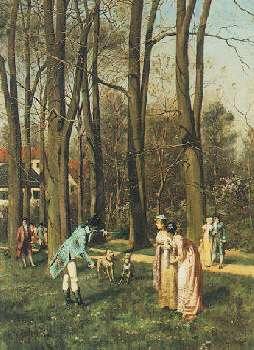 HANS BACHMANN (SWISS, 1852-1917) TRENIREN DIE HUNDE DER KONIGLICHEN FAMILIE