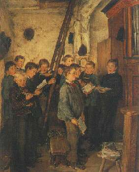 OTTO PILTZ (GERMAN, 1846-1910) CHOIR REHEARSAL