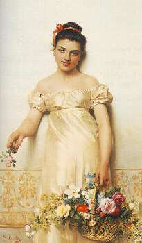 GIOVANNI COSTA (ITALIAN, 1833-1903) A YOUNG LADY HOLDING A BASKET OF FLOWERS