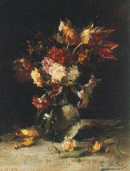 HUBERT BELLIS (BELGIAN, 1831-1902) STILL LIFE OF TULIPS AND CARNATIONS IN A VASE