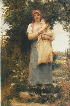 GEORGES LAUGEE (FRENCH, B. 1853) A MOTHER HOLDING HER CHILD