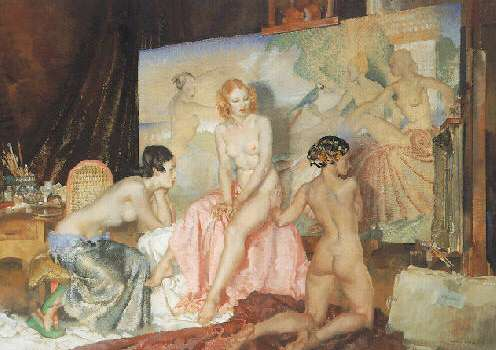 SIR WILLIAM RUSSELL FLINT (BRITISH, 1880-1969) MODELS FOR OLYMPIANS