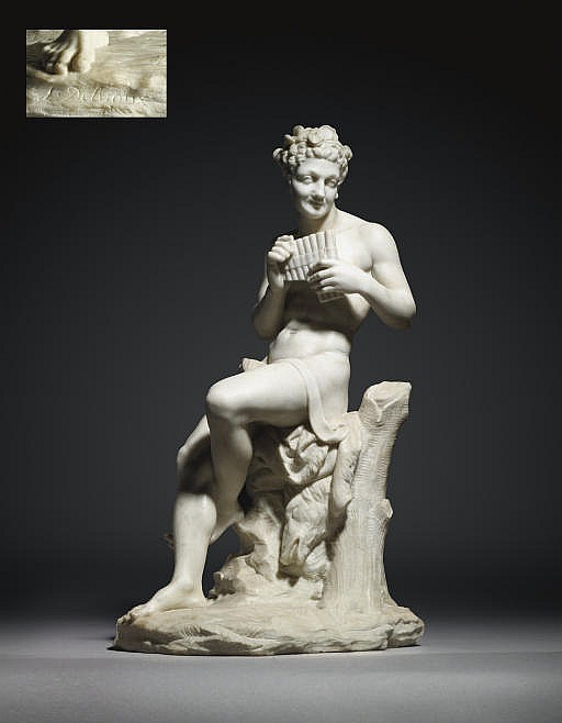 A CARVED MARBLE FIGURE OF A FAUN PLAYING THE PAN PIPES