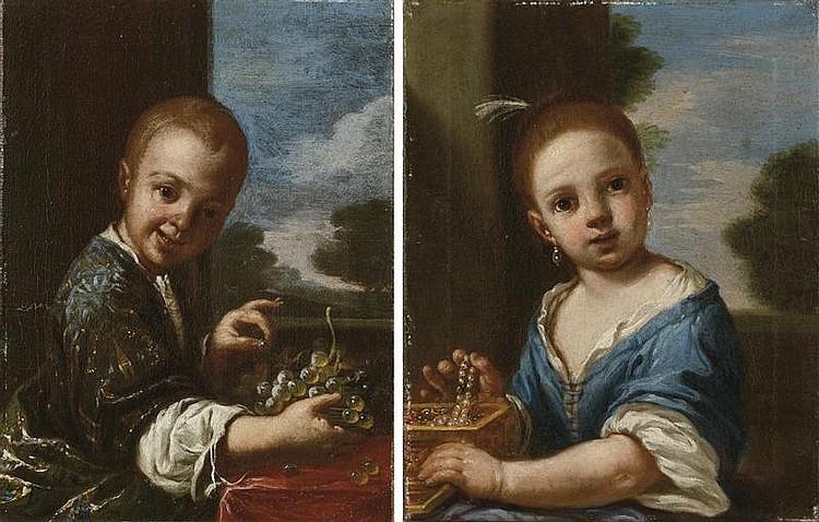 Bambino con uva; e Bambina con portagioie