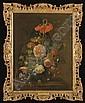 Soucis, pivoines, pois de senteur, chardons, une rose, un iris et autres fleurs dans un vase, Justus