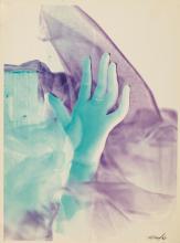 MAURICE TABARD (1897-1984) Sans titre (main bleue, tissu violet), 1963 sign