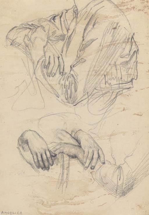 Study of hands and drapery