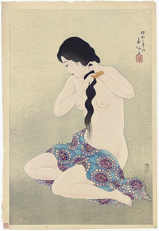 Nude combing her hair, 1928 Ichikawa Kigan V (1887-1978) as Otomi, in the play  Yowanasake ukina no yokogushi , 1927 Nakamura Ganjiro I (1860-1935) as Kamiya Jihei, in the play  Kawasho , 1933.11