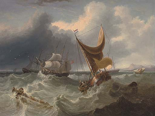 A crowded merchantman in the Channel amidst other shipping