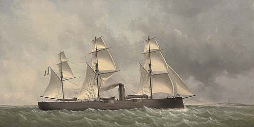 A French ironclad turret ship under sail and steam off the coast