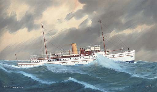 The R.C.Y.C. motor yacht  Princess  in a heavy swell