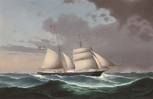 The Danish brigantine  Adolph  under reduced sail and heading into stormy weather