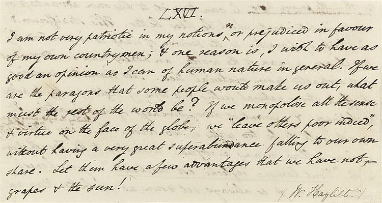 HAZLITT, William (1778-1830). Autograph manuscript fragment containing two aphorisms, undated, one headed 'LXVI' and endorsed 'W. Hazlitt', the other lacking opening lines and final word 'ass,' together 20 lines on either side of a cut sheet,