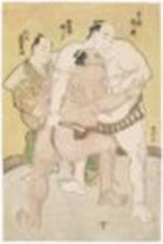 KATSUKAWA SHUNKO (1743-1812) Wrestlers Uzugafuchi and Sekinoto in the ring
