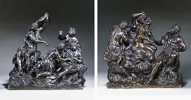 A PAIR OF BRONZE GROUPS DEPICTING DIANA AND CALLISTO AND THE JUDGEMENT OF PARIS