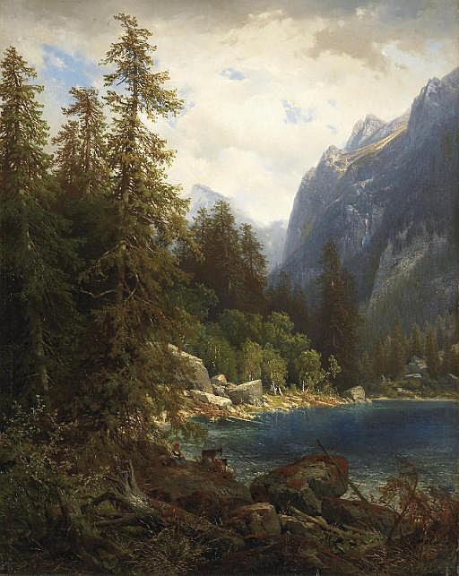 Paysage de montagne avec lac, 1854