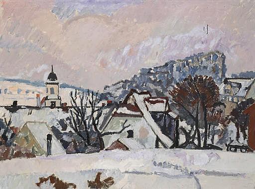 Winterlandschaft, Kloster Fahr, 1942
