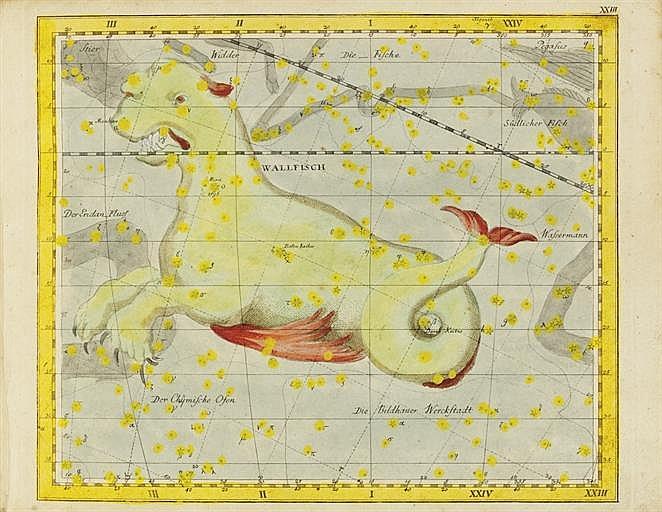 BODE, Johann Elert (1747-1826).  Vorstellung der Gestirne auf XXXIV Kupfertafeln nach der Pariser Ausgabe des Flamsteadschen Himmelsatlas.  Berlin and Stralsund: Gottlieb Augsut Lange, 1782.