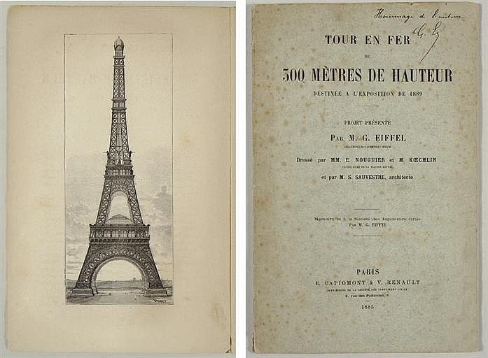 EIFFEL, Gustave (1832-1923).  Tour en Fer de 300 Mètres de Hauteur destinée a l'Exposition de 1889 . Paris: E. Capiomont & V. Renault, 1885.