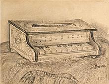 HERVIER, Louis-Adolphe (1818-1879) Piano miniature fusain, estompe, lavis gris 31,5 x 40,6 cm. (12 3/8 x 16 in.)