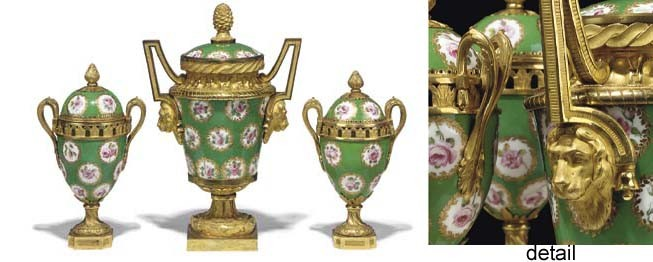A LOUIS XVI ORMOLU-MOUNTED APPLE-GREEN SEVRES PORCELAIN ASSEMBLED GARNITURE (VASE ET GOBELETS