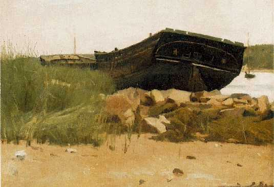 DENNIS MILLER BUNKER (1861-1890)Old Hulkssigned with initials D.B., l.r. -