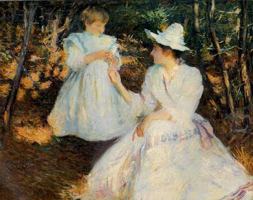 EDMUND CHARLES TARBELL (1862-1938) Mother and Child in Pine Woods