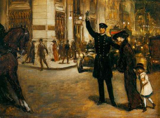 WARREN B. DAVIS (1865-1928) New York Crossing
