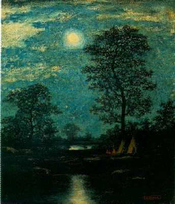 RALPH ALBERT BLAKELOCK (1847-1919) Teepees in the Moonlight