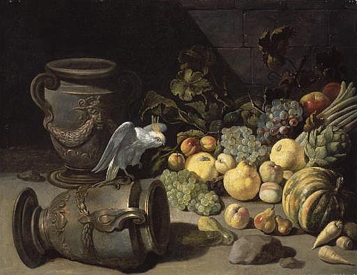 Perroquet, urnes et fruits sur un entablement en pierre