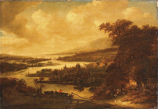 A wooded river landscape with fishermen in a boat and hunters on a track, a town beyond