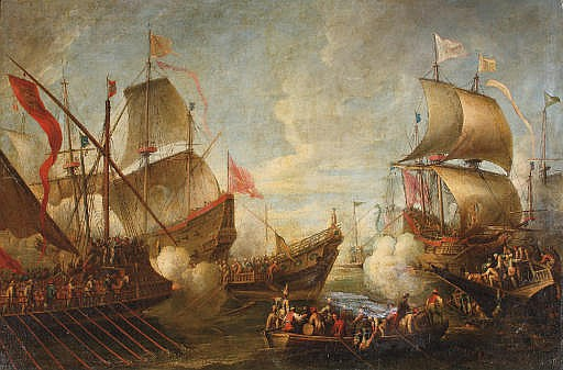 A naval battle between Turks and Christians