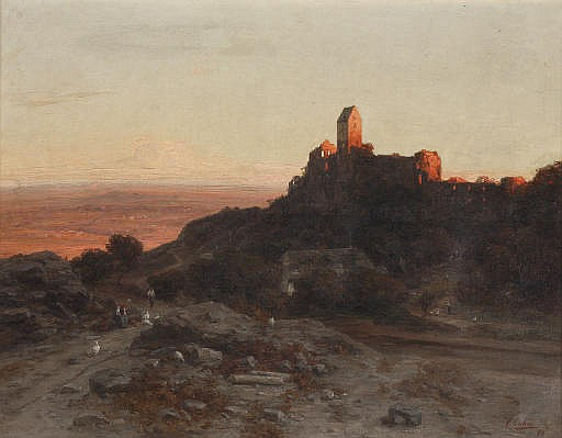 Castle ruins in an extensive summer landscape, Hungary