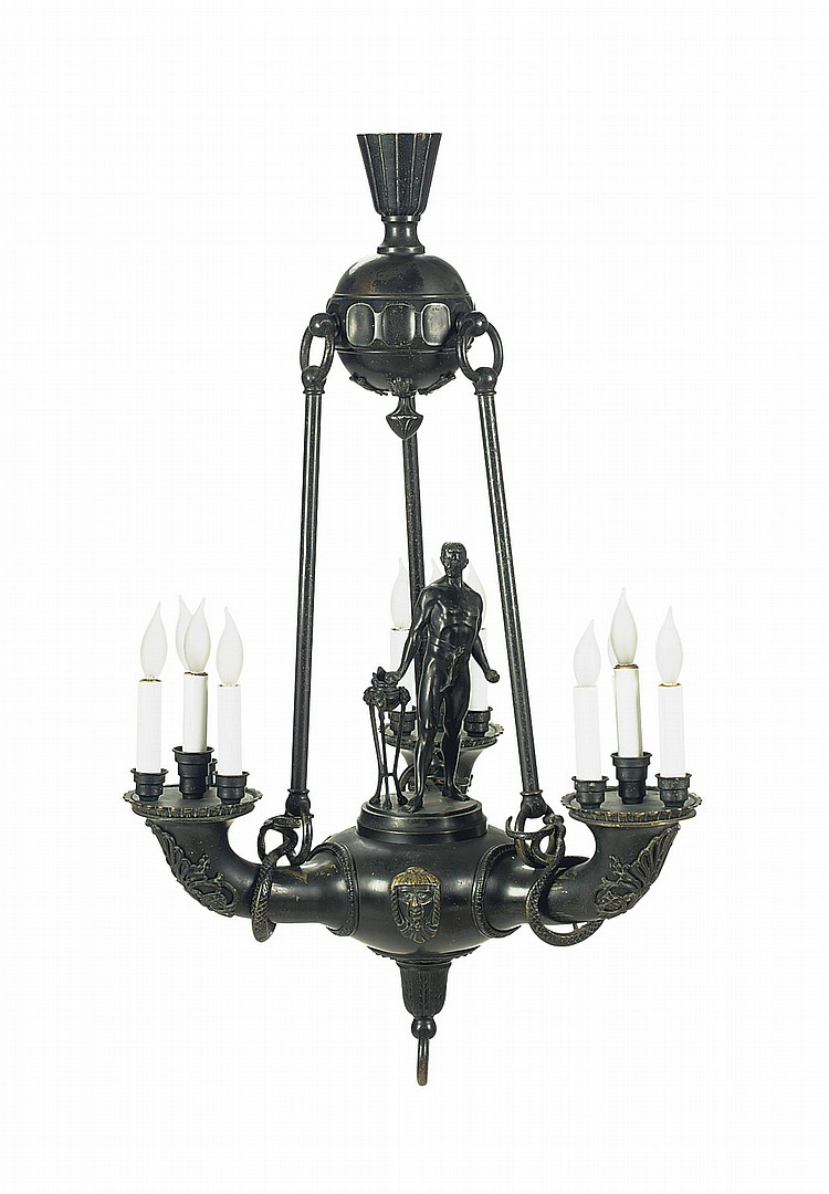 A GERMAN PATINATED-BRONZE CHANDELIER,