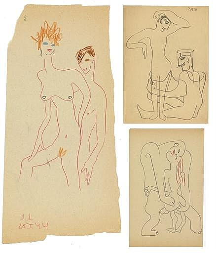A collection of fifteen erotic drawings