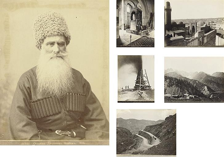 Two albums comprising a collection of 188 photographs depicting the Caucasus region, including views of: Voenno Gruzinskaia Doroga, Mounts Kazbek and El'brus, the rivers Aragva, Kura and Terek, Voenno Osetinskaia Doroga, Svanetiia, Baku and