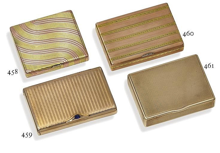 A jewelled two-colour gold cigarette-case