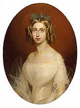 Albert Wagner (German, 1816-1867) Portrait of Maria Teresa of Savoy (1801-1855), Consort of King Carlo Alberto,... oil on canvas, oval, unframed 33 1/8 x 24 3/8 in. (84 x 62. cm.)