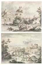 Giuseppe Zais (Forno di Canale 1709-1781 Treviso) - Two imaginary landscapes with churches in the Venetian style and villagers