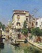 Gondoliers on a Venetian Canal, Rubens Santoro, Click for value