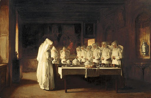 Sisters of Charity Saying Grace Before a Meal at the Hospice in Beaune, France, ( Le Benedicté )