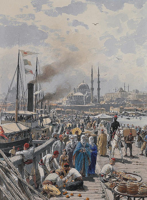 The Old Galatea Bridge connecting Karakoy to Eminonu Over the Golden Horn, Istanbul