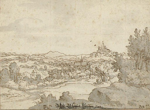 A landscape with a church and castle in the distance